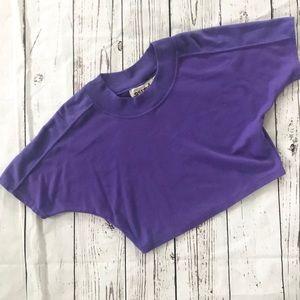 Vintage 1980's purple dolman batwing crop top